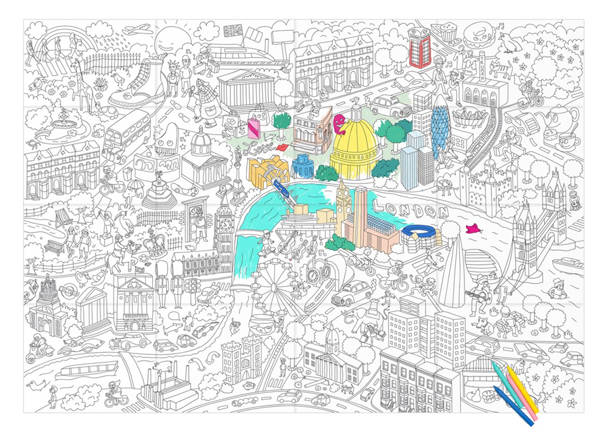 Amazon.com: OMY Design and Play Giant Colouring Poster London by OMY ...