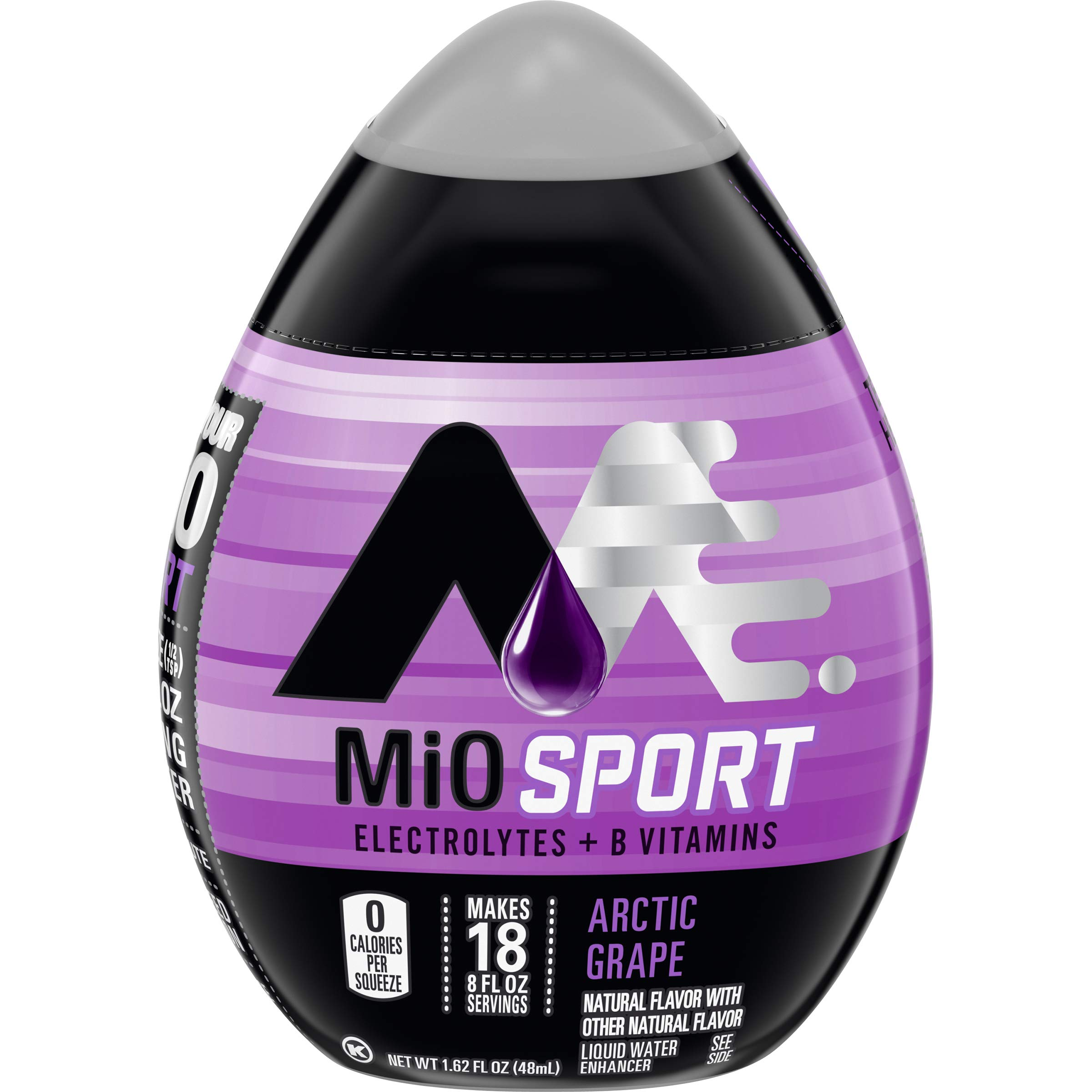 MIO Sport Arctic Grape Liquid Water Enhancer with Electrolytes + B-Vitamins, Arctic Grape, 12 Count by Mio