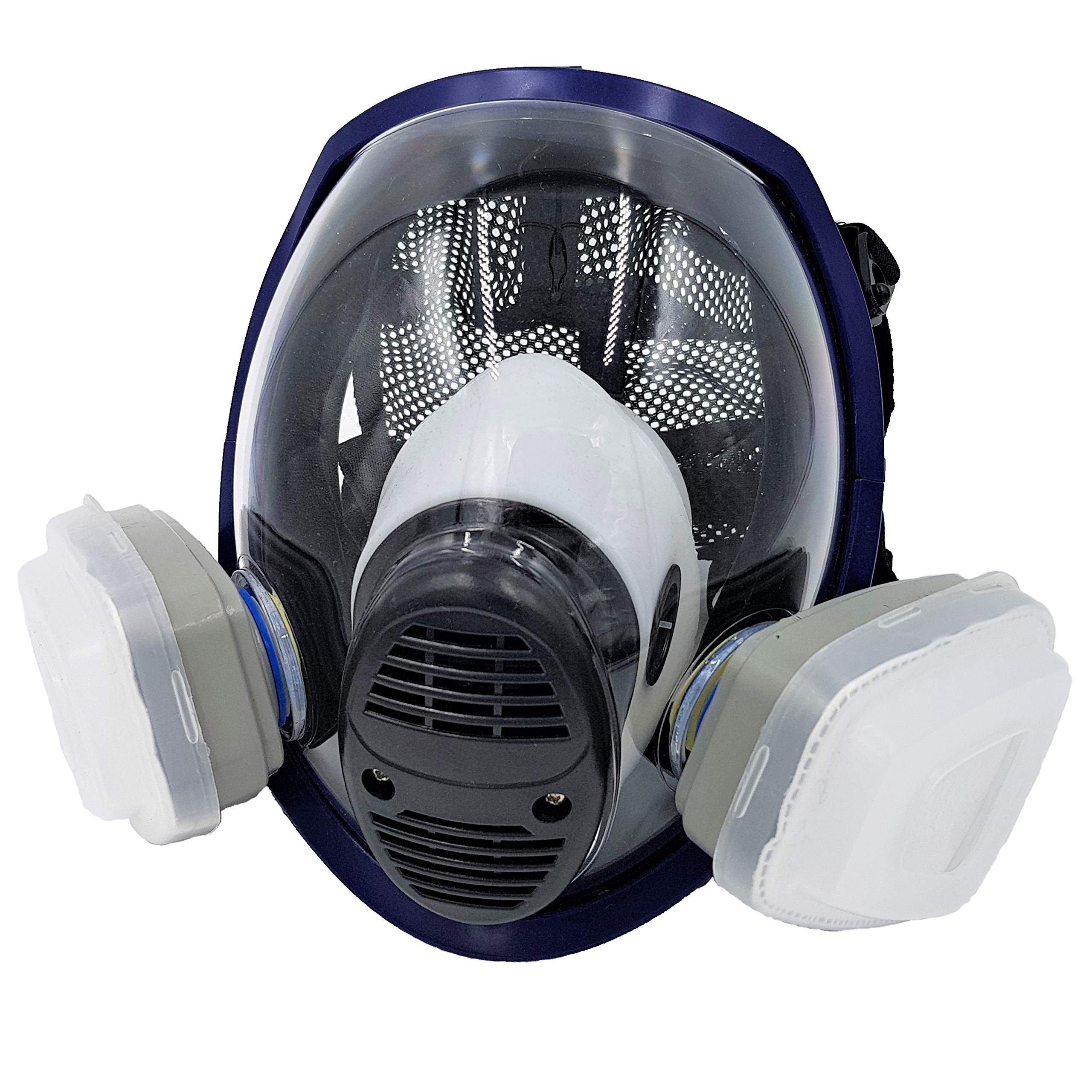 WiseLime Organic Full Face Respirator Mask for Chemicals, Smoke, Paint Spray and Tear Gas, Industrial Grade Quality Gas Mask including 2 Filters (Gas Mask + 1 Pair of #3 Filter Cartridges) by WiseLime (Image #1)