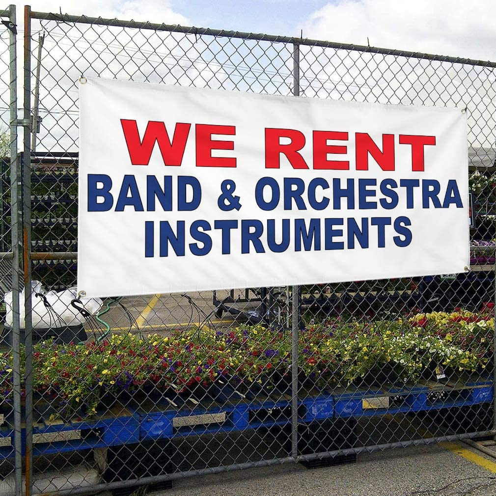 Vinyl Banner Multiple Sizes We Rent Band /& Orchestra Instruments Red Blue Business Outdoor Weatherproof Industrial Yard Signs 8 Grommets 48x96Inches