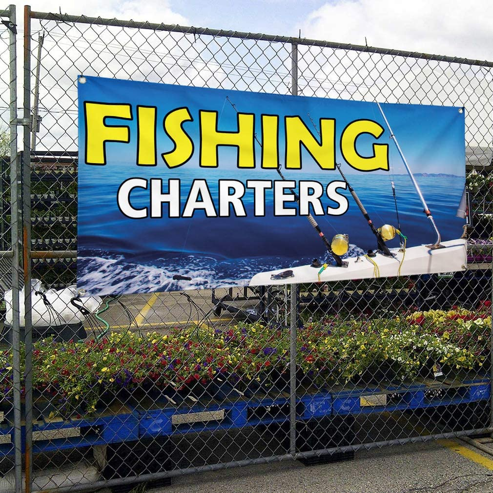 Vinyl Banner Multiple Sizes Fishing Charters Advertising Printing A Business Outdoor Weatherproof Industrial Yard Signs Blue 8 Grommets 48x96Inches