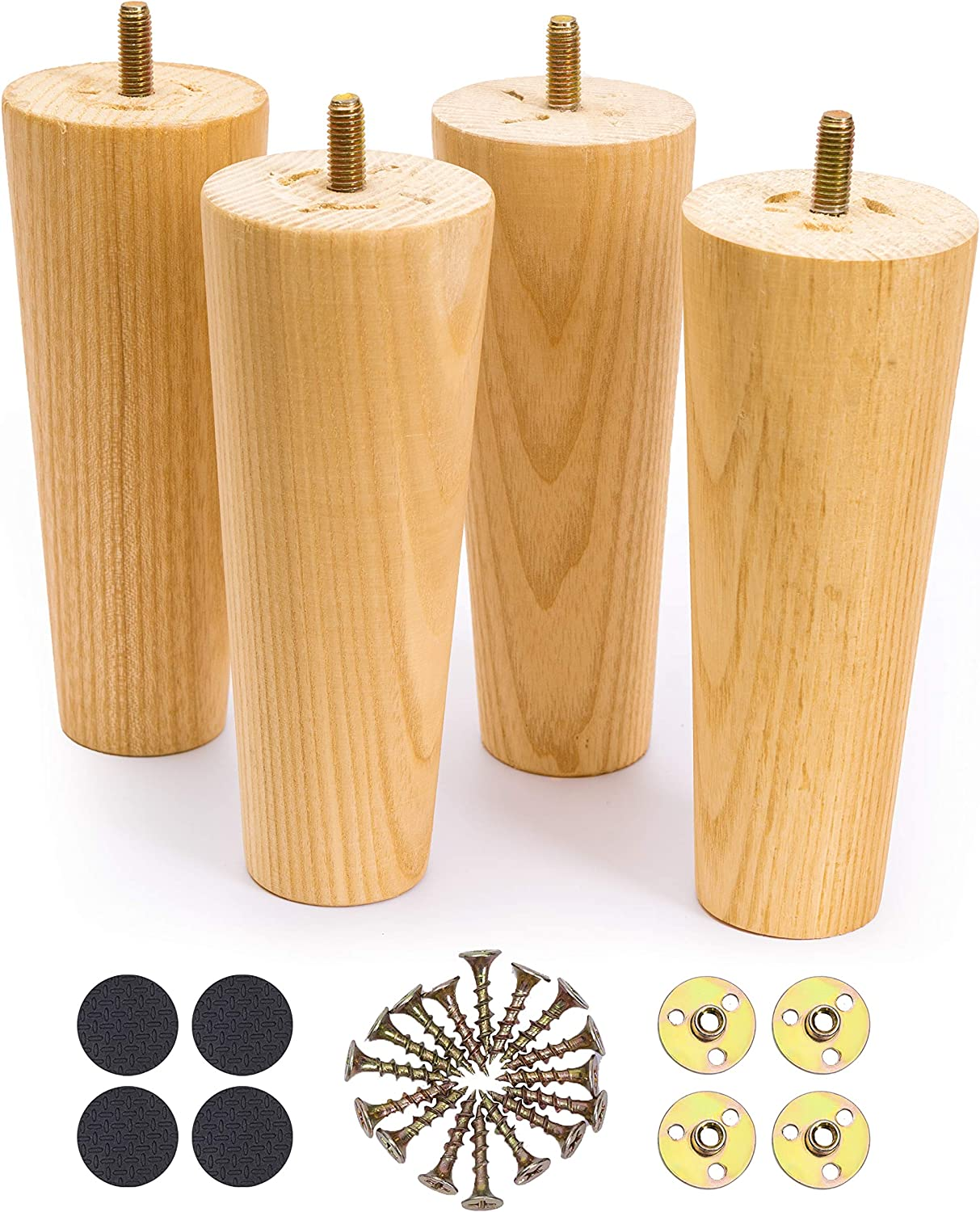 WOODINNO Furniture Legs 6 Inch Replacement for Mid Century Table Dresser, Desk, Couch, Chair Cabinet Sofa | Modern Tapered Round Feet Set of 4 | Raiser Painted Ash Wooden Feets | Clear Coat