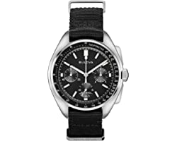 Bulova Archive Series Mens Stainless Steel with Black Nylon Strap Lunar Pilot Chronograph , Silver-Tone (Model: 96A225)
