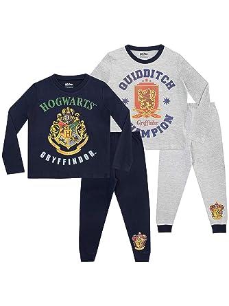 Harry Potter Boys Hogwarts Pyjamas 2 Pack  Amazon.co.uk  Clothing 2eaab4b51