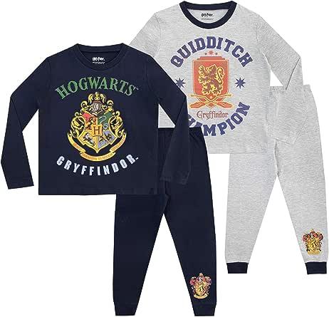 HARRY POTTER Pijamas de Manga Larga para Niños Hogwarts Paquete de 2