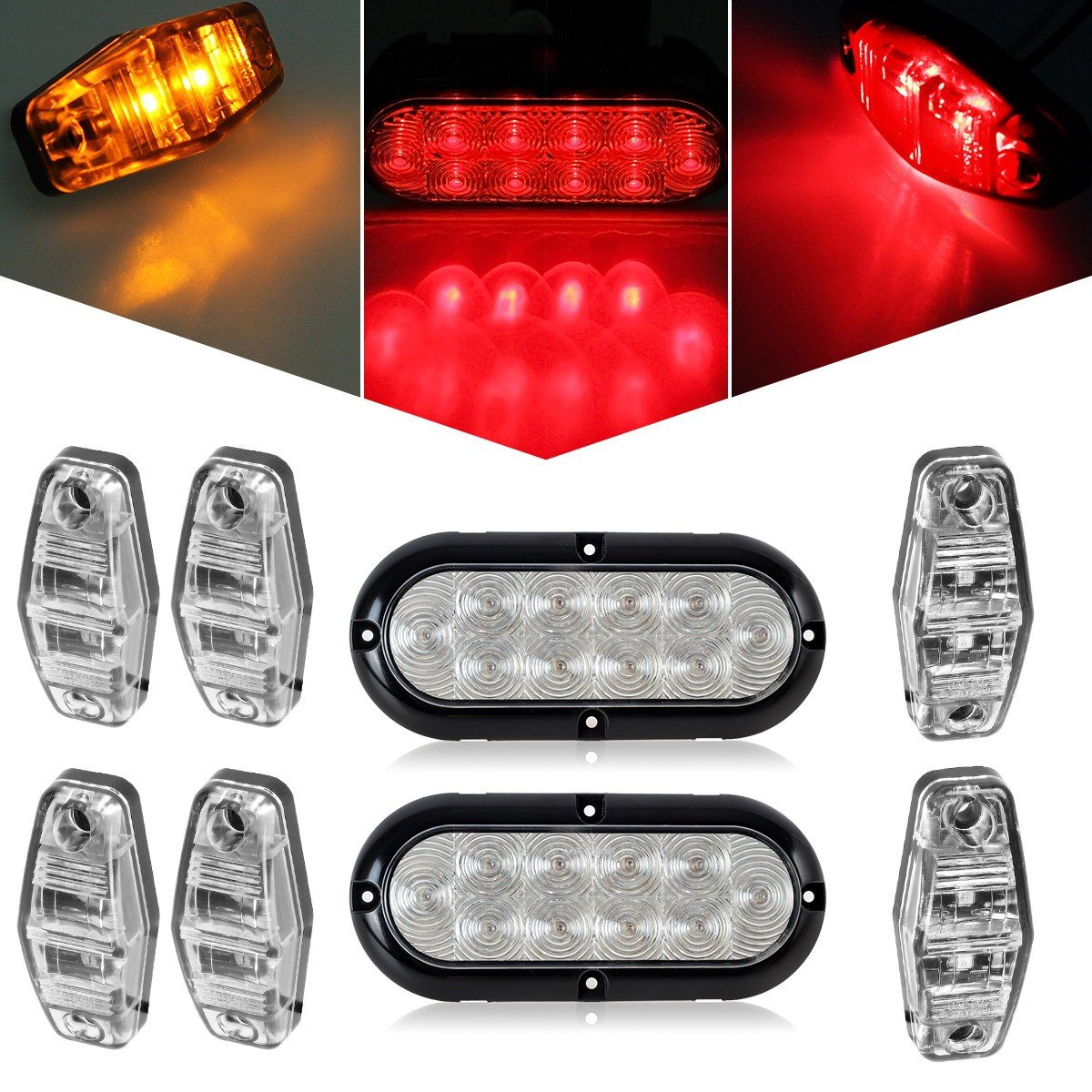 60off Partsam Led Trailer Light Kit 2x 6 Oval Clear Lens Stop Also Tail Lights Along With Wiring