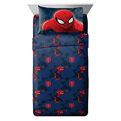 Jay Franco Spiderman Saving The Day 4 Piece Full Sheet Set (Offical Marvel Product), Blue: Home & Kitchen