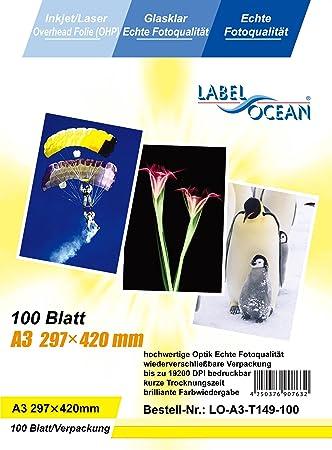 100 hojas A3 (papel transparente OHP) para impresoras de ...