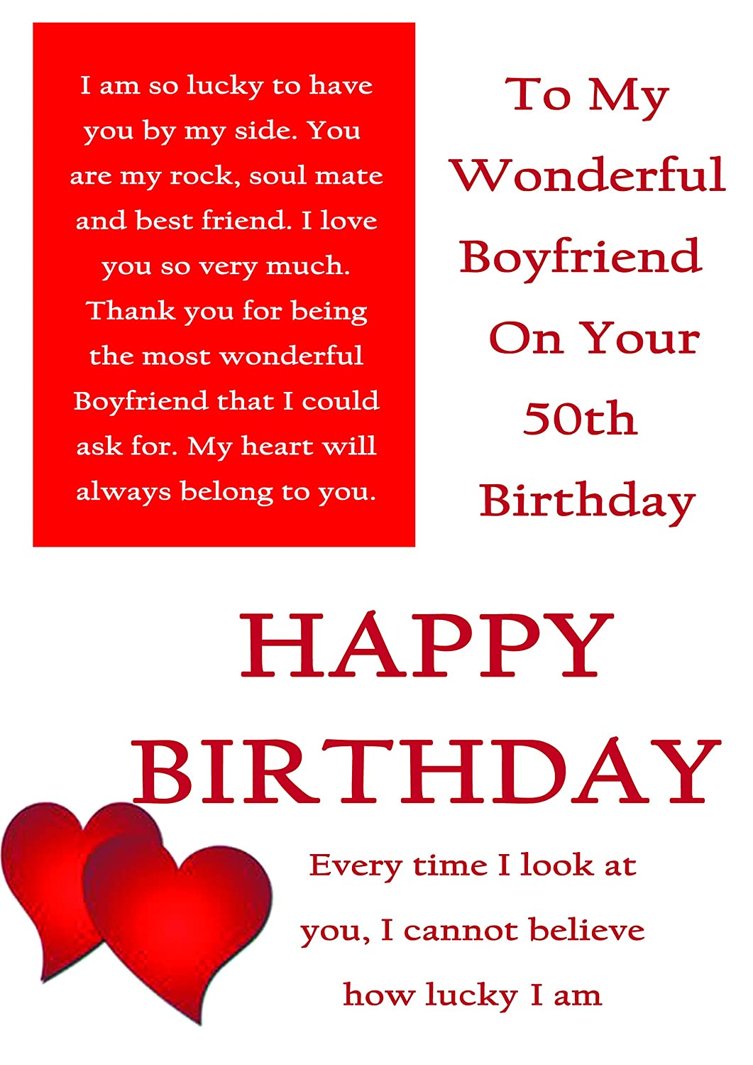 Boyfriend 50th Birthday Card With Removable Laminate