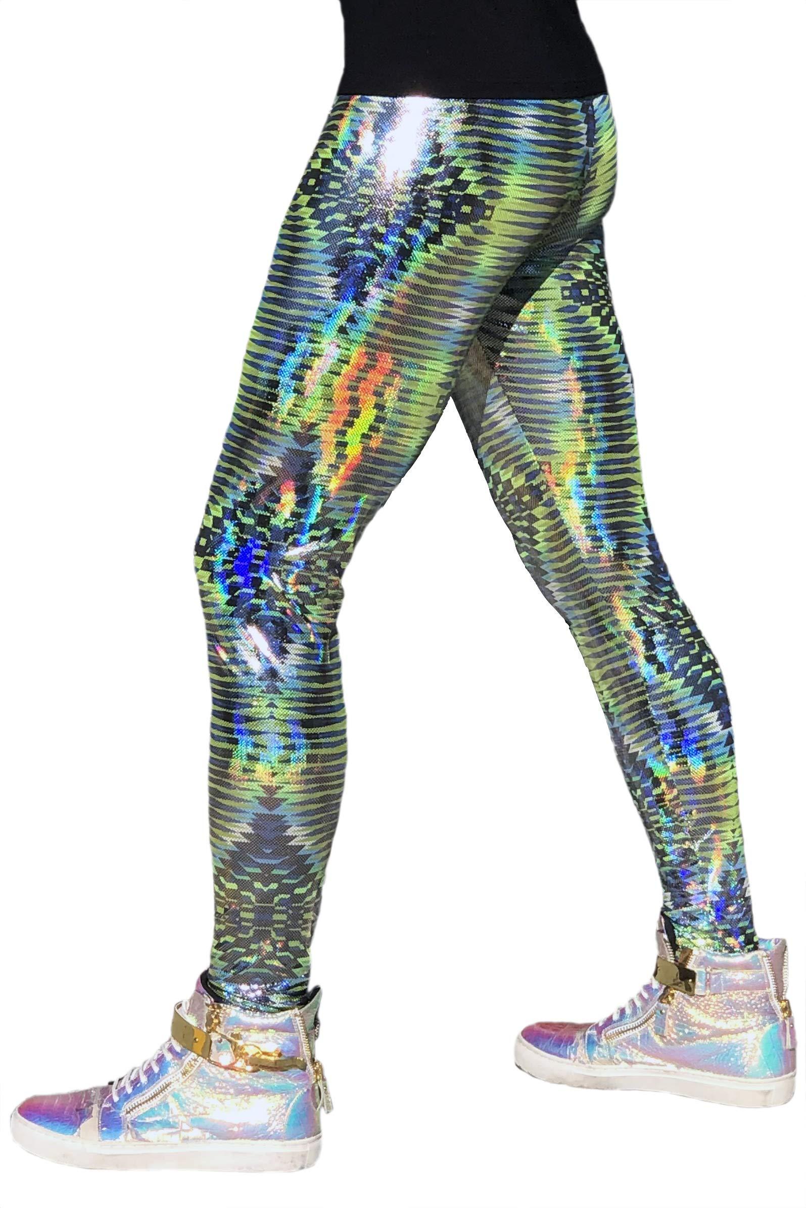 Revolver Fashion Holographic Meggings: USA Made Men's Disco Leggings. Fun Music Festival Clothing (Dazzle Green, Large) by Revolver Fashion