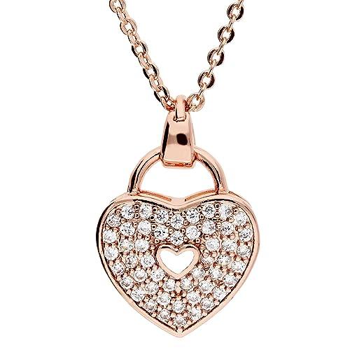 Mya tipo cadena collar collar corazón candado colgante de oro con muchos  Swarovski. Rose Oro Rose Oro Mujer Infantil myargket de 20  Amazon.es   Joyería 995a48fac0