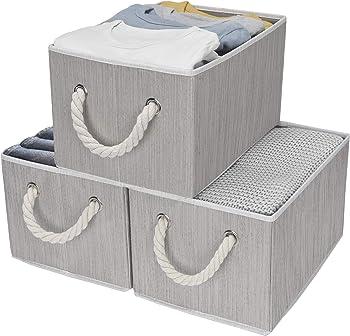3-Pk StorageWorks Decorative Storage Bins with Cotton Rope Handles