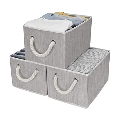 Storageworks Decorative Storage Bins Bathroom Storage Baskets With Cotton Rope Handles Mixing Of Gray Brown Beige 3 Pack Large