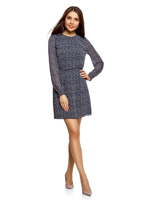 oodji Ultra Damen Kleid aus Fließendem Stoff mit Gürtel