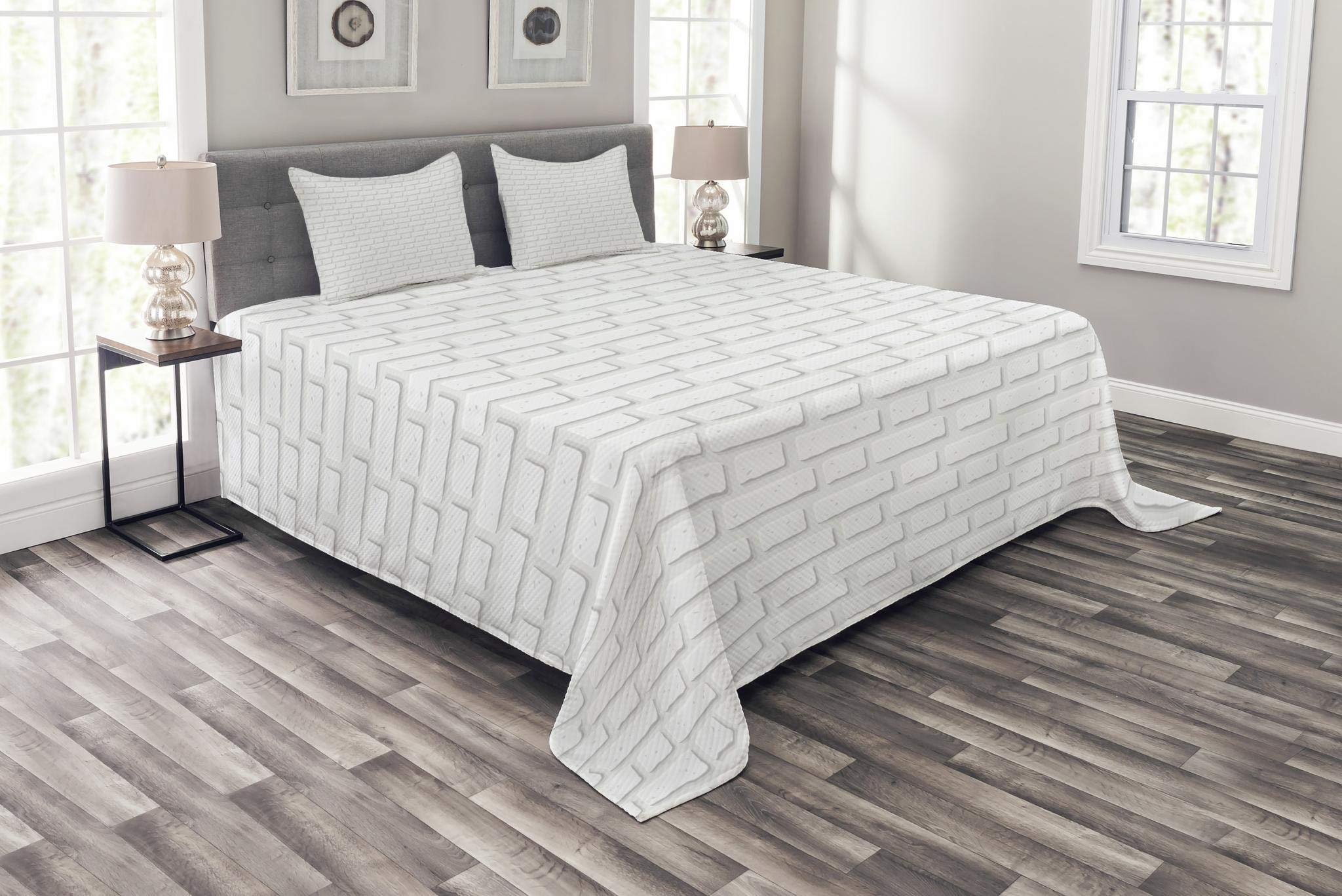 Lunarable White Bedspread Set King Size, Urban City Construction Theme with Cartoon Style Brick Wall Architecture Concept, Decorative Quilted 3 Piece Coverlet Set with 2 Pillow Shams, White Pale Grey
