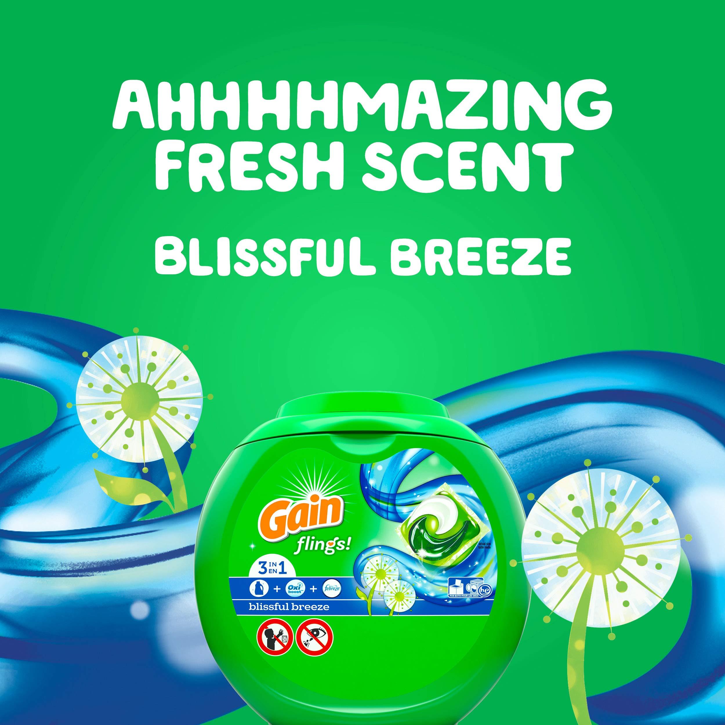 Gain flings! Liquid Laundry Detergent Pacs, Blissful Breeze, 96 Count by Gain (Image #6)