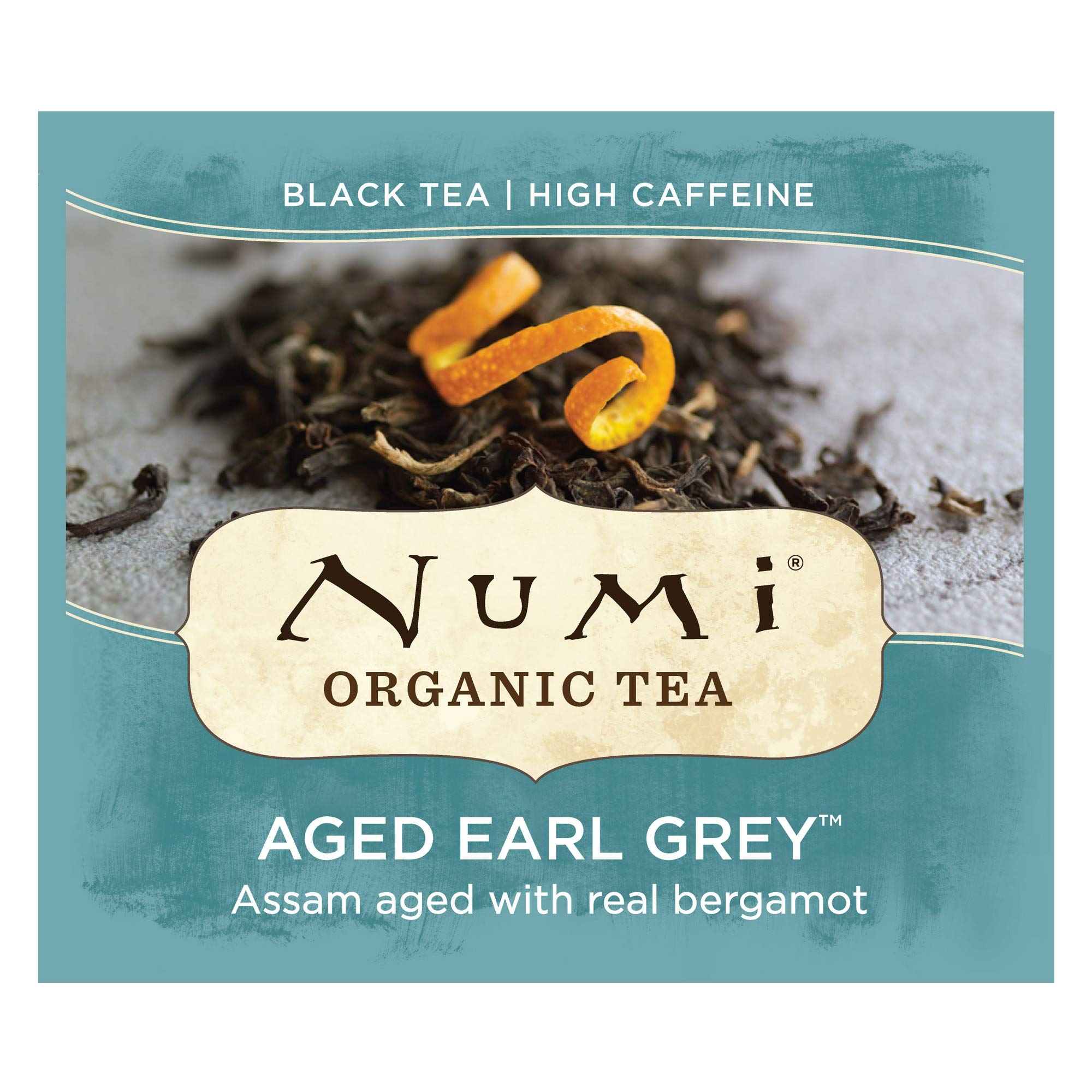 Numi Organic Tea Aged Earl Grey, 100 Count Box of Tea Bags, Black Tea (Packaging May Vary) by Numi