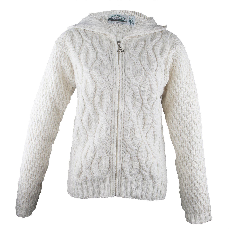 100% Irish Merino Wool Ladies Hooded Aran Zip Sweater by West End Knitwear