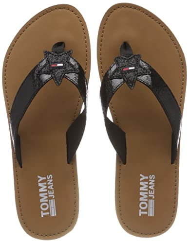 Tommy Hilfiger Zehentrenner »METALLIC LOW BEACH SANDAL«, schwarz, Black