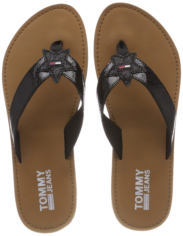 Hilfiger Denim Damen Glitter Beach Sandal Zehentrenner  38 EU Schwarz (Black 990)