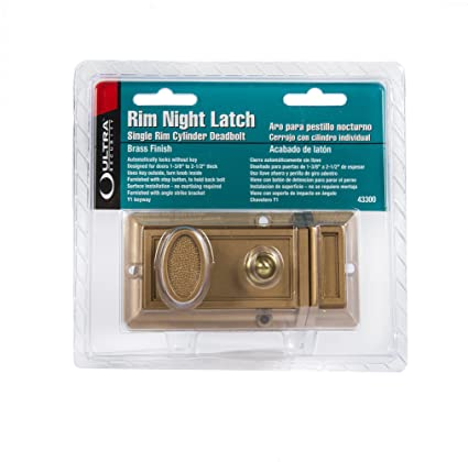 Ultra Hardware 43300 Rim Cylinder Deadbolt Night Latch, Brass