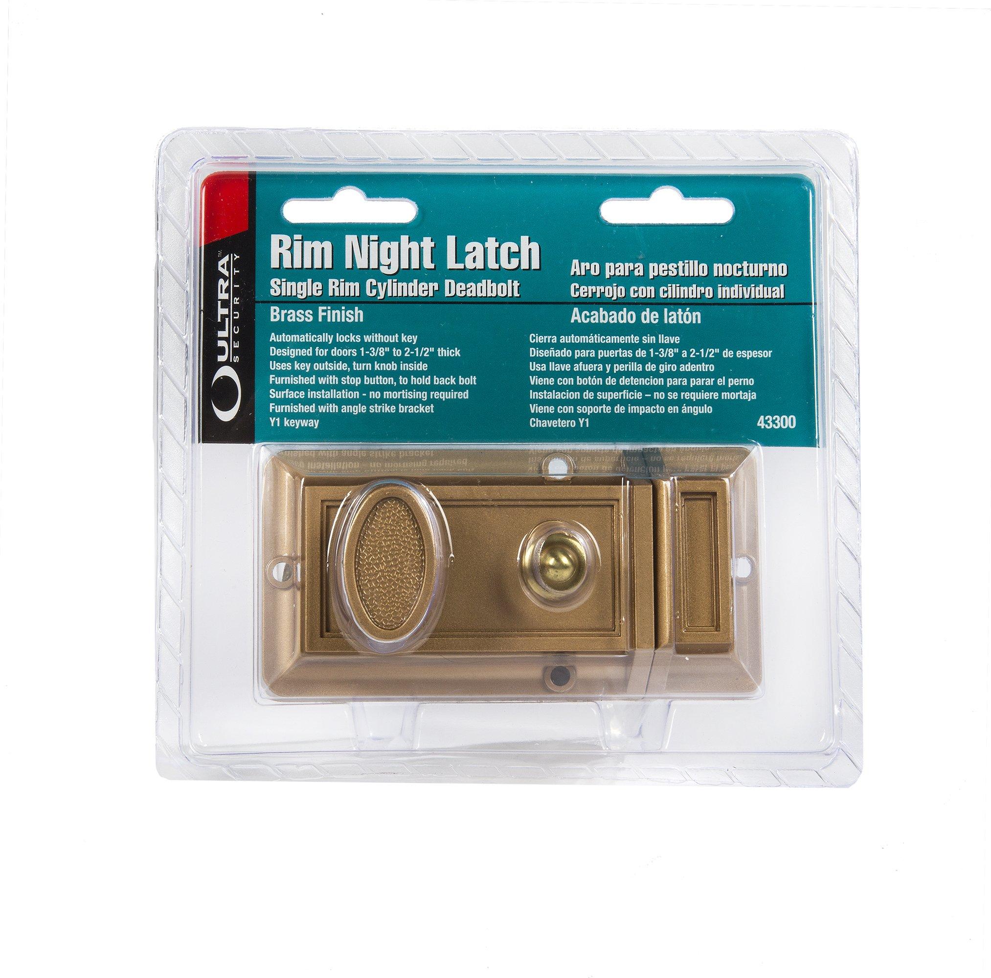 Ultra Hardware 43300 Rim Cylinder Deadbolt Night Latch, Brass