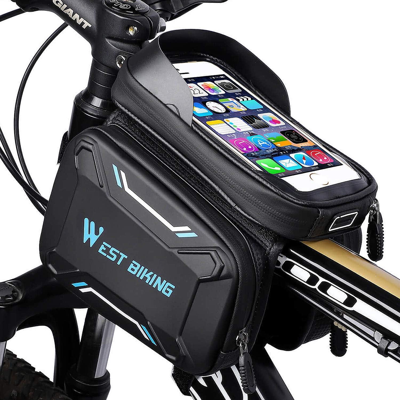WEST BIKING MTB Road Cycling Wasserdichte Oberrohr-Tasche Touchscreen E5L9