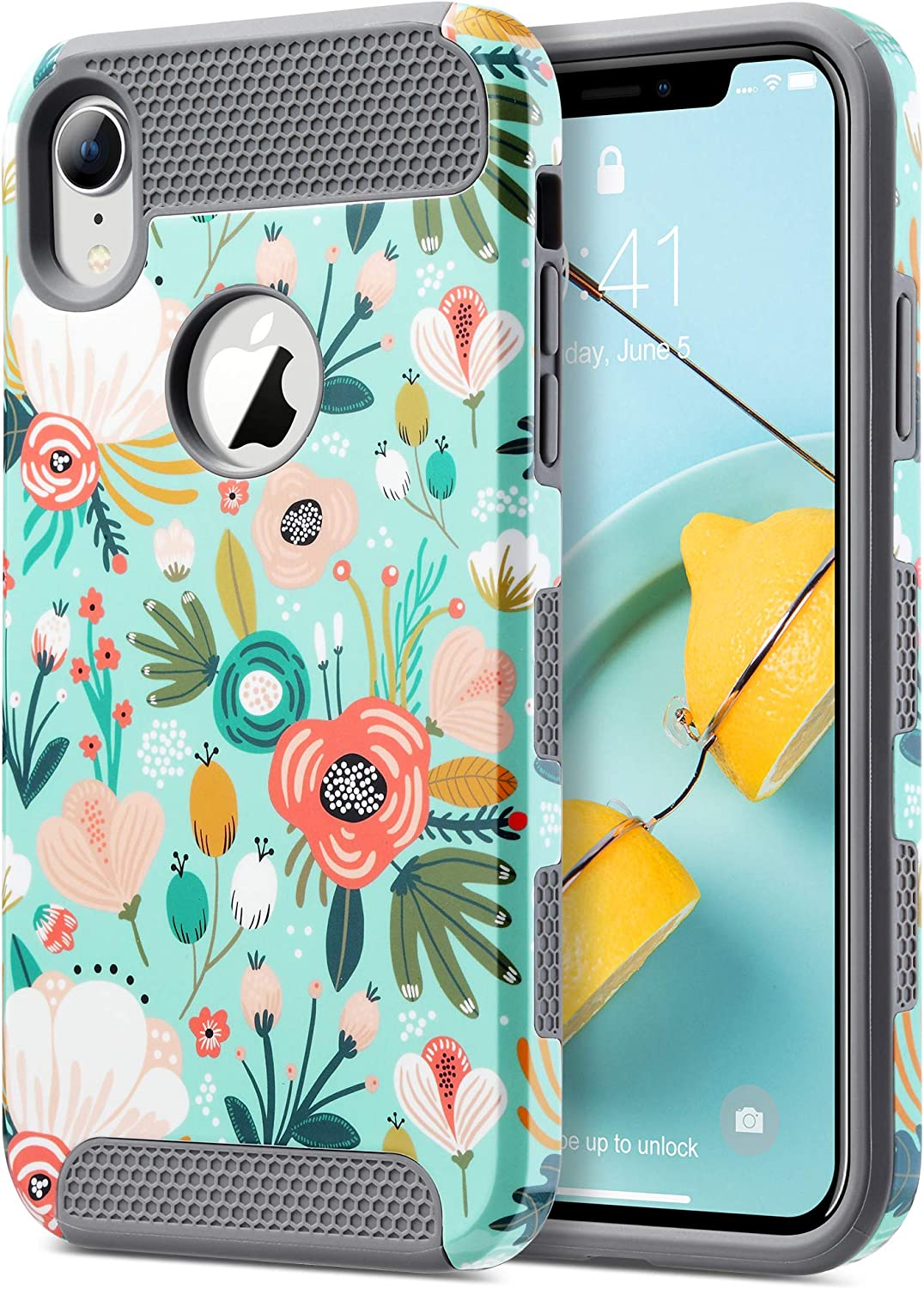 ULAK iPhone XR Case, Slim Hybrid Hard PC Shell Shockproof Phone Case for Women, Anti-Scratch Protective Bumper Cover for iPhone XR 6.1 Inch, Mint Floral
