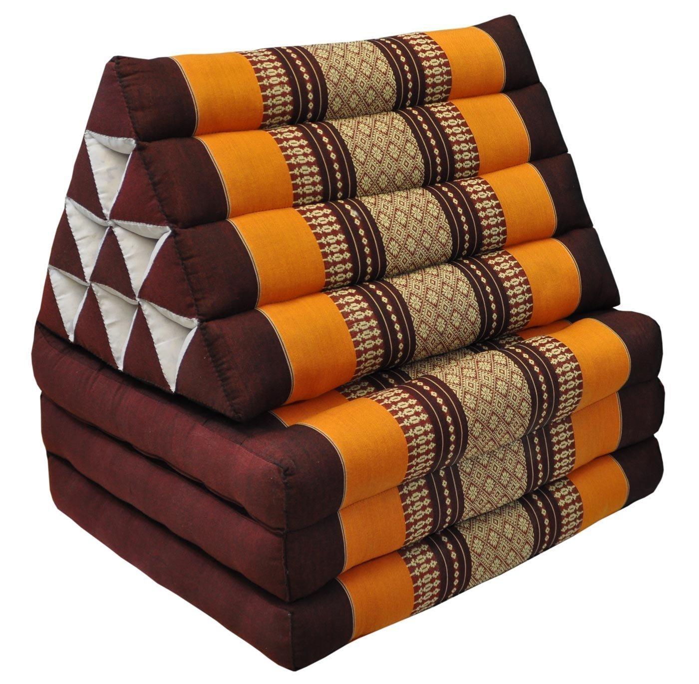 Thai Handmade Foldout Triangle Thai Cushion, 67x21x3 inches, Kapok Fabric, Brown Orange, Premium Double Stitched by WADSUWAN SHOP