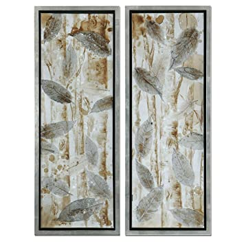 Amazon.com: Pressed Leaves Framed Wall Art - Set of 2: Home & Kitchen