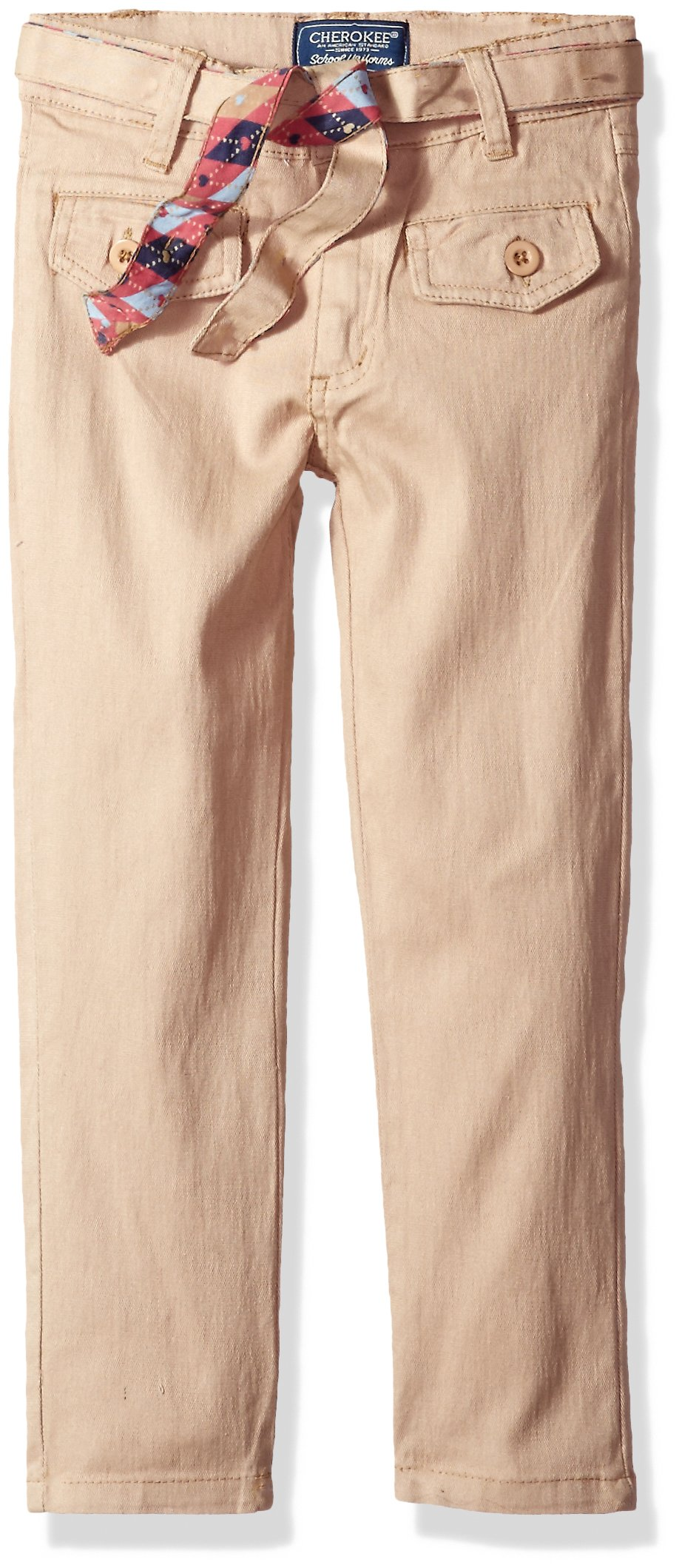 Cherokee Big Girls' Uniform Stretch Twill Pant with Belt and Flap Pocket, Khaki, 7
