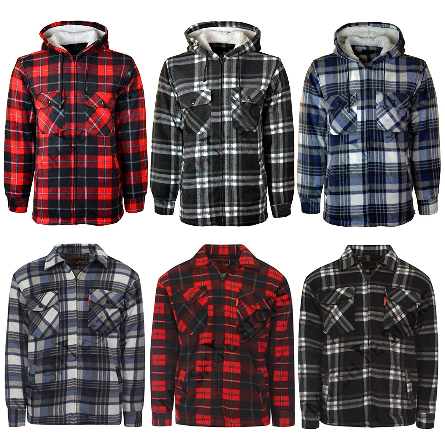 Mens Padded Shirt Thick Lumberjack Work Checked Hooded Fleece Sherpa Lined