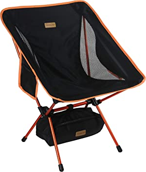 Ideal for Backpacking Camp Outdoors Larger Feet Park Compact Lightweight Folding with Side Pocket KAMUI Portable Camping Chair Picnic Festival Shoulder Strap Beach
