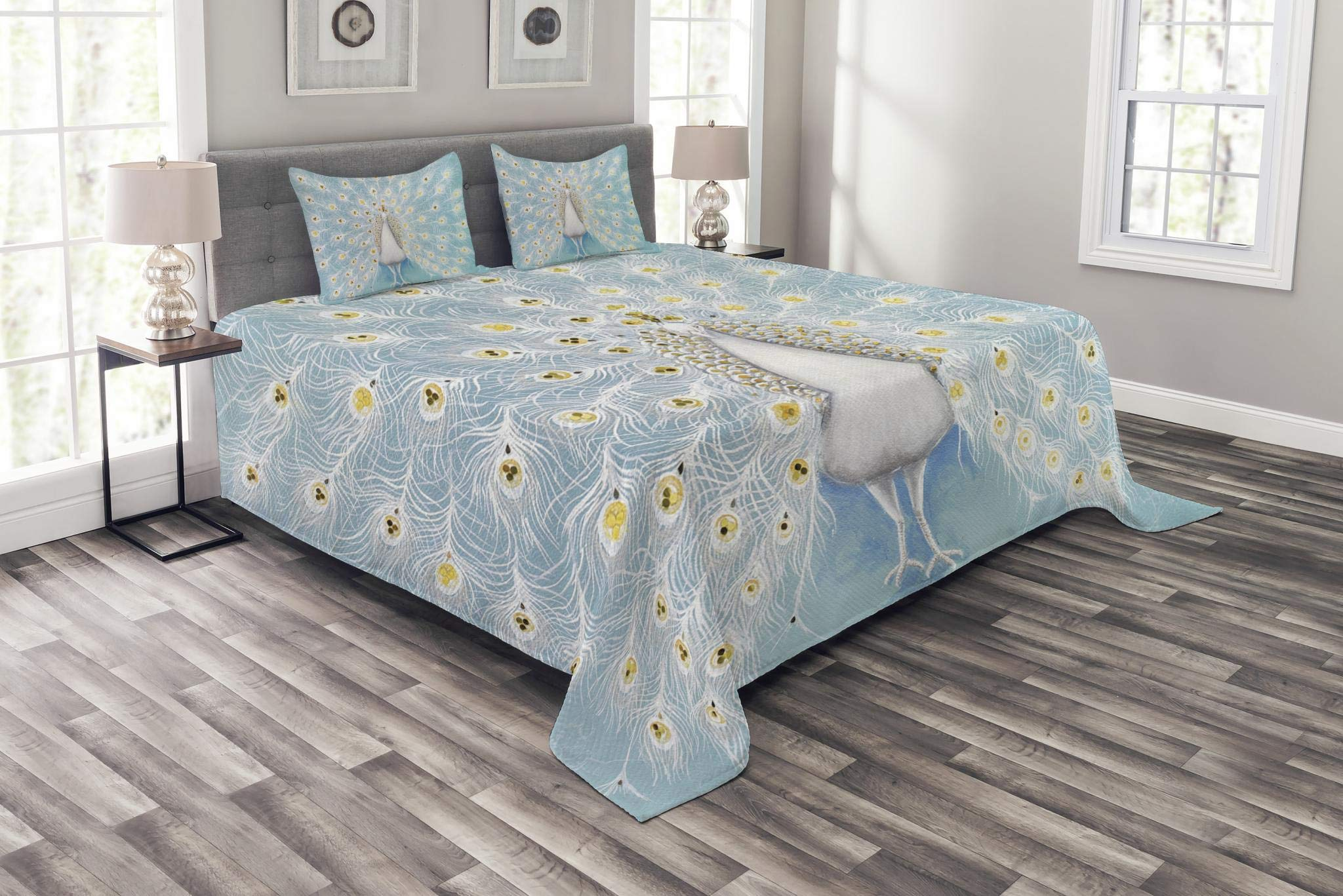 Ambesonne Peacock Bedspread Set Queen Size, Peacock Pattern on The Wall Nature Colorful Stylish Ornate Artwork Print, Decorative Quilted 3 Piece Coverlet Set with 2 Pillow Shams, Yellow Pale Blue