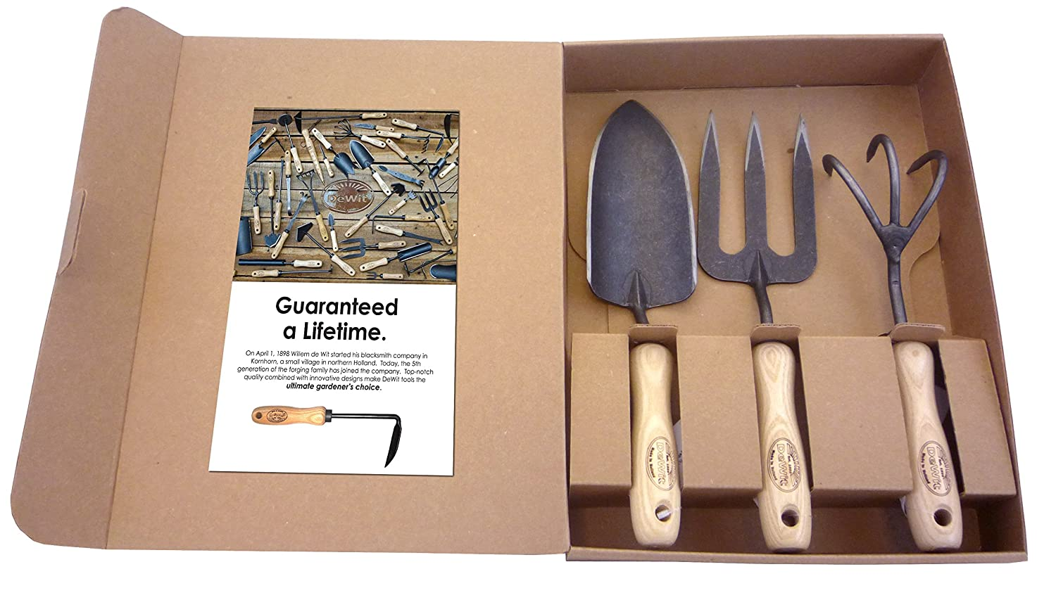 Dewit 3-Piece Tool Gift Set with 3-Tine Cultivator, Forged Trowel and Forged Hand Fork