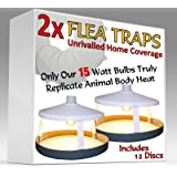 2x ULTIMATE FLEA TRAPS by Medipaq® + 12 Sticky Discs - The ONLY 15 Watt Trap on Amazon - Truly Replicates Animal Body Heat - The Most Effective On The Market