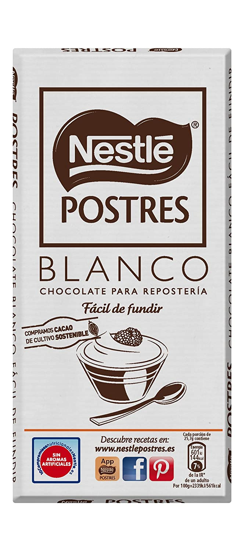 Nestlé Postres - Chocolate Blanco para Repostería - 4 Paquetes de 180 g