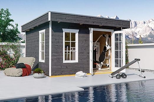 Skan Holz Cabaña Madera tejado Plano 833501100000 Breda Casa, 28 mm, Casas de jardín, Color Azul grisáceo, 300 x 380 x 255 cm: Amazon.es: Jardín