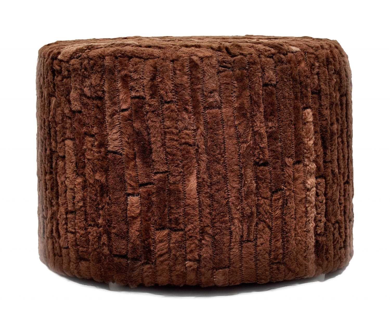 Cowhide Pouf, Brown