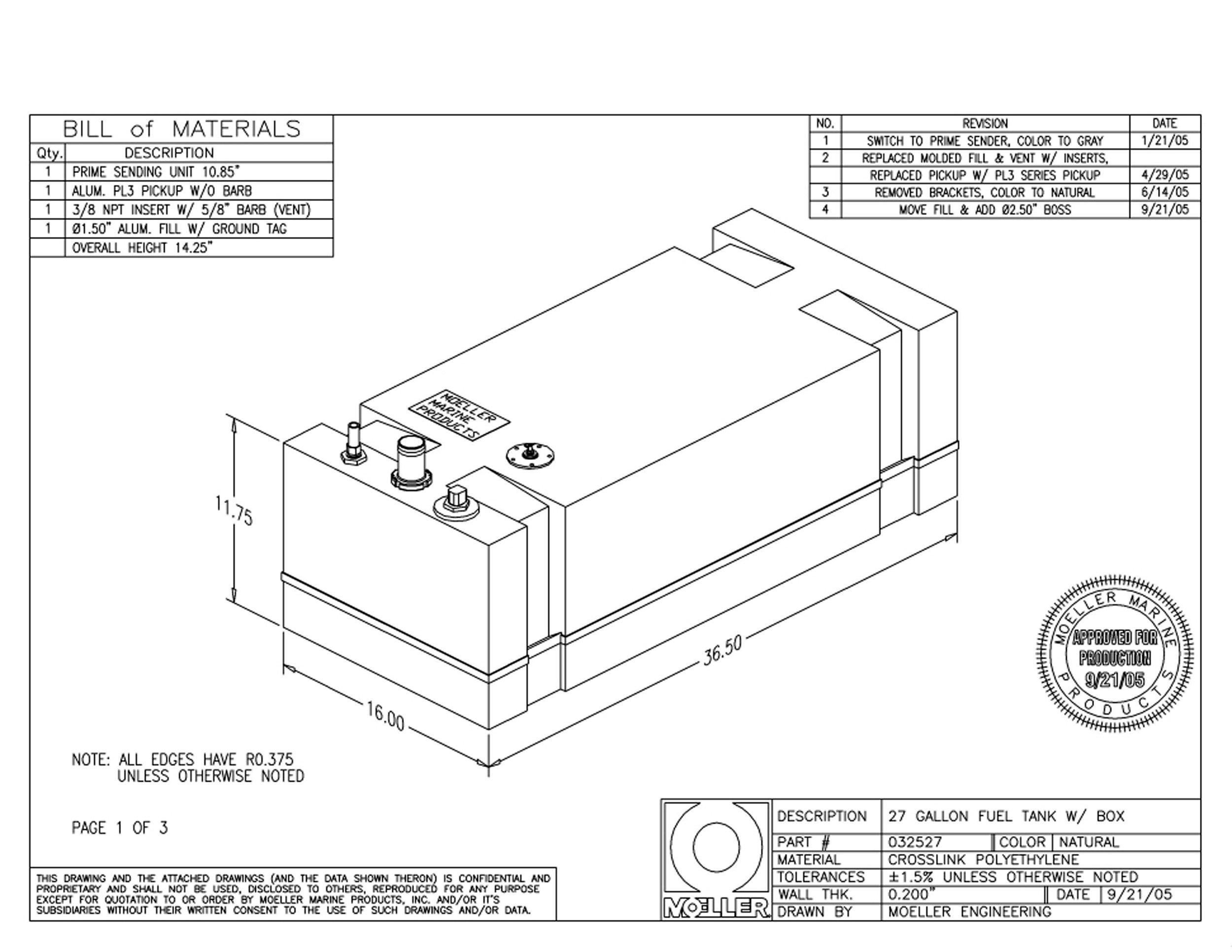 Moeller Marine Below Deck Permanent Fuel Tank (27-Gallon, 36.5'' x 16'' x 11.75'')