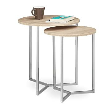 Relaxdays Table console ronde lot de 2 diamètre 50 et 40 cm table d appoint 9f2973b5cc1c