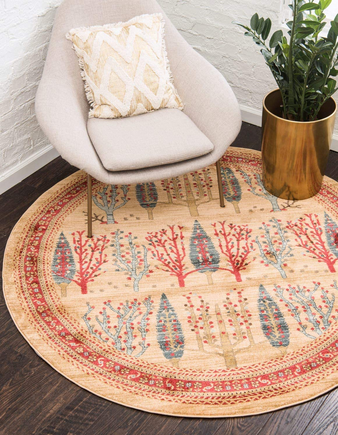 Unique Loom Fars Collection Tribal Modern Casual Tan Round Rug 6 0 x 6 0