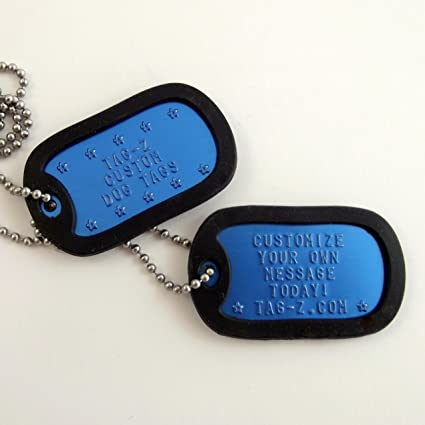 c5eb250e6c46 Military Dog Tags - Custom Embossed Royal Blue Dog Tags with Chains and  Silencers