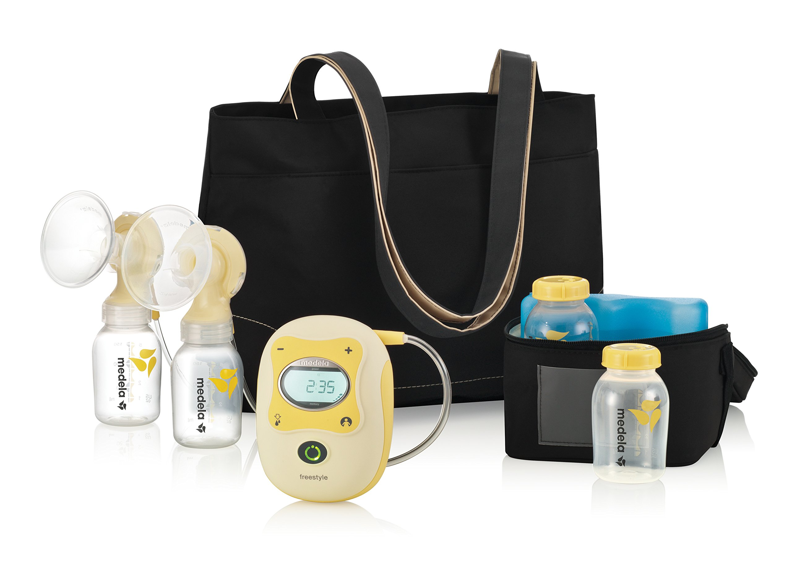 Medela Freestyle Double Electric Breast Pump, Hands Free Breastpump, Rechargeable Battery, Lightweight, Digital Display with Memory Button, Lactation Support by Medela