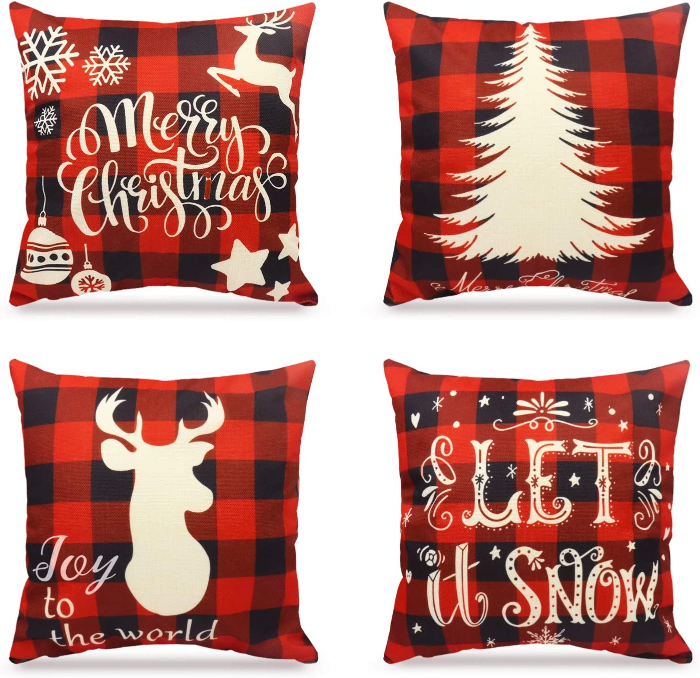 WEYON Christmas Pillow Covers Plaid Decorative Home Decor Red and Black Buffalo Check Pillowcases Cotton Linen 18 × 18 Inch, Set of 4