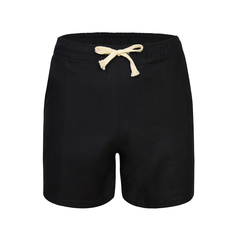 Yknktstc Womens Elastic Waist Casual Beach Shorts with Drawstring