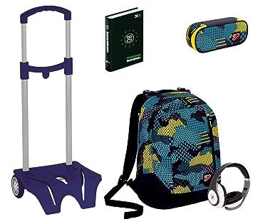 Kit escolar mochila + Easy Trolley + lápices + Diario Seven – The Double Camouflage Azul