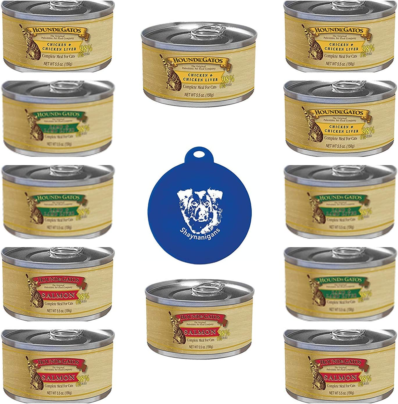 Hound & Gatos Grain Free Canned Cat Food Pate 3 Flavor Variety Bundle: (4) 98% Salmon Recipe, (4) 98% Lamb Recipe, and (4) 98% Chicken Recipe (12 Cans Total, 5.5 Ounces Each) Plus Silicone Lid