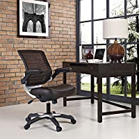 Modway Edge Mesh Back and Vinyl Seat Office Chair In Brown With Flip-Up Arms - Perfect For Computer Desks