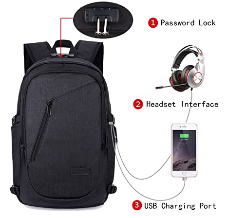 8fd4c341c68d Travel Laptop Backpack, FLYMEI Business Backpack with USB Charging Port,  Computer Bag for Men & Women, Anti Theft Laptops Backpack, Waterproof  Bookbag ...